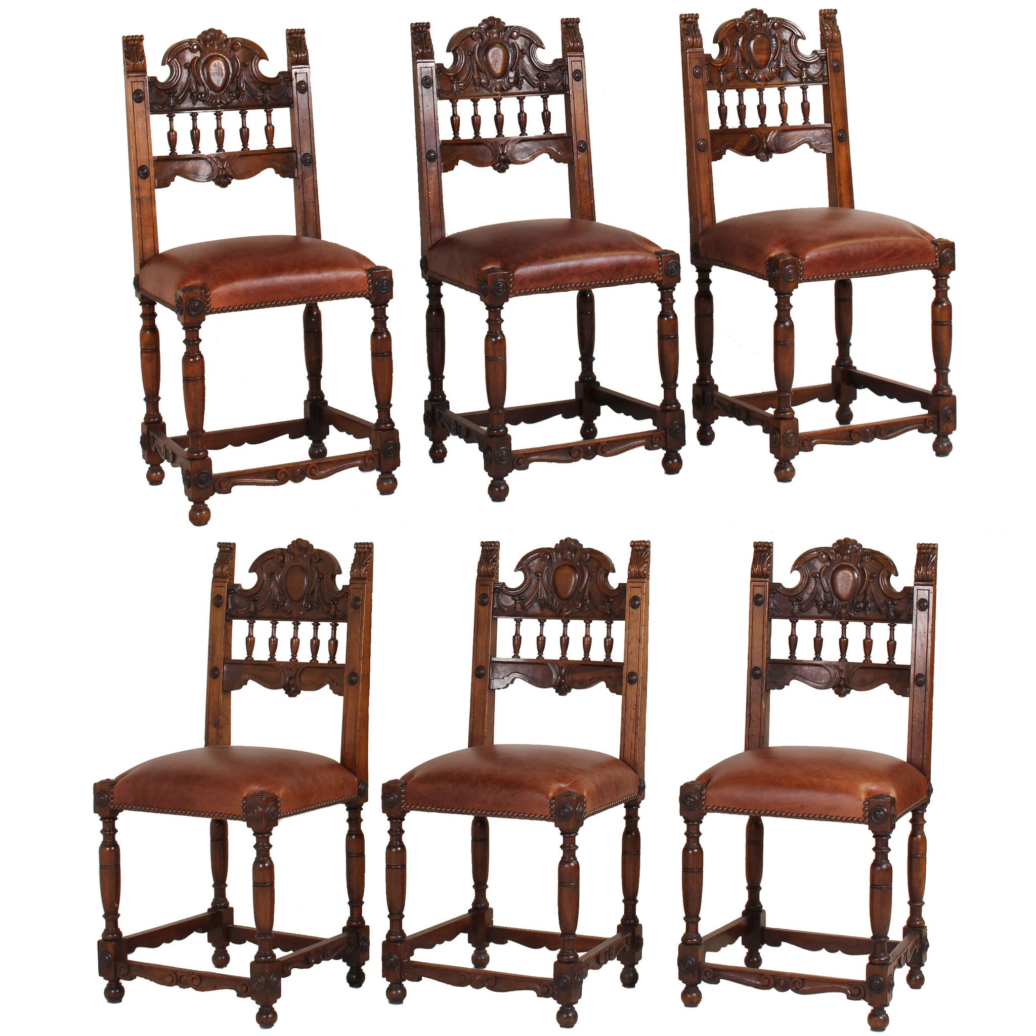 ... Set Of Six Italian Renaissance Style Walnut Dining Chairs   Fatto A  Mano Antiques   1 ...