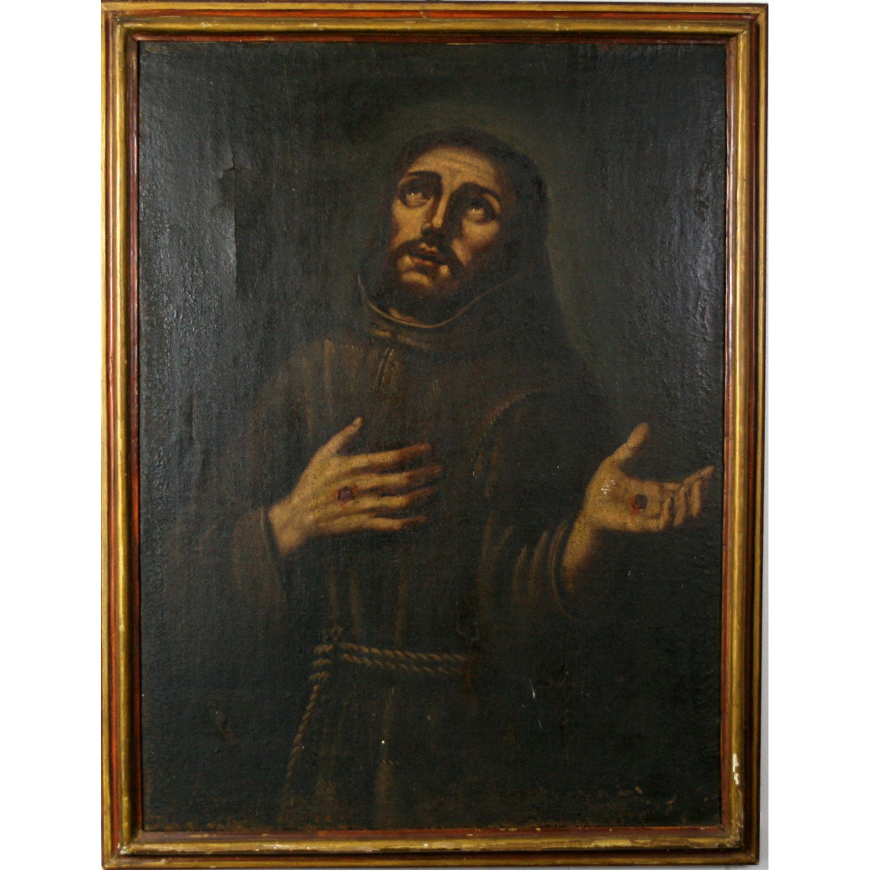 Antique Painting Of St Francis Of Assisi Fatto A Mano Antiques