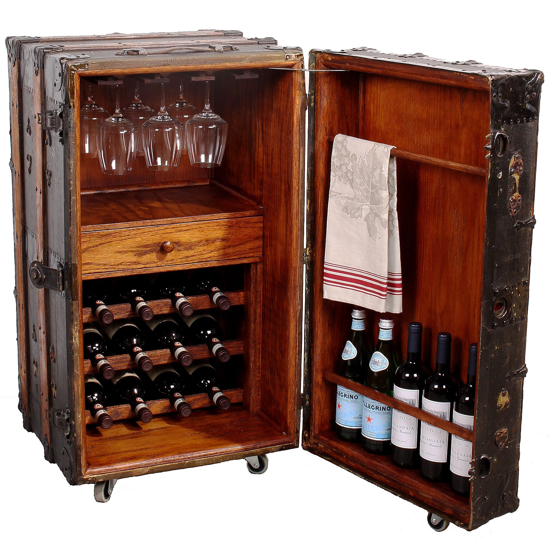 Steamer Trunk Furniture Vintage Steamer Trunk Wine Bar Cabinet Fatto A Mano Antiques