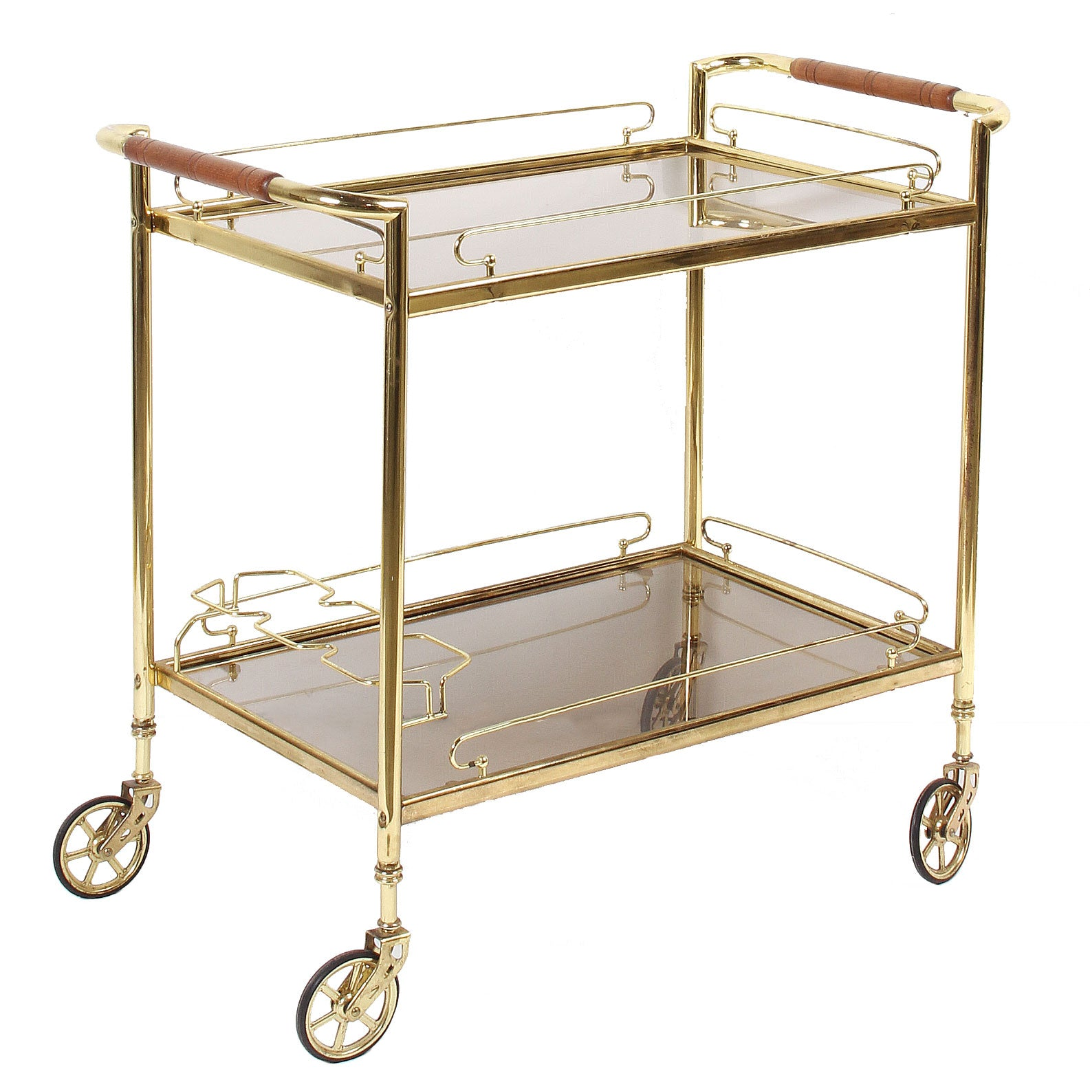 Vintage Bar Cart >> 1960s French Brass And Glass Rolling Bar Cart