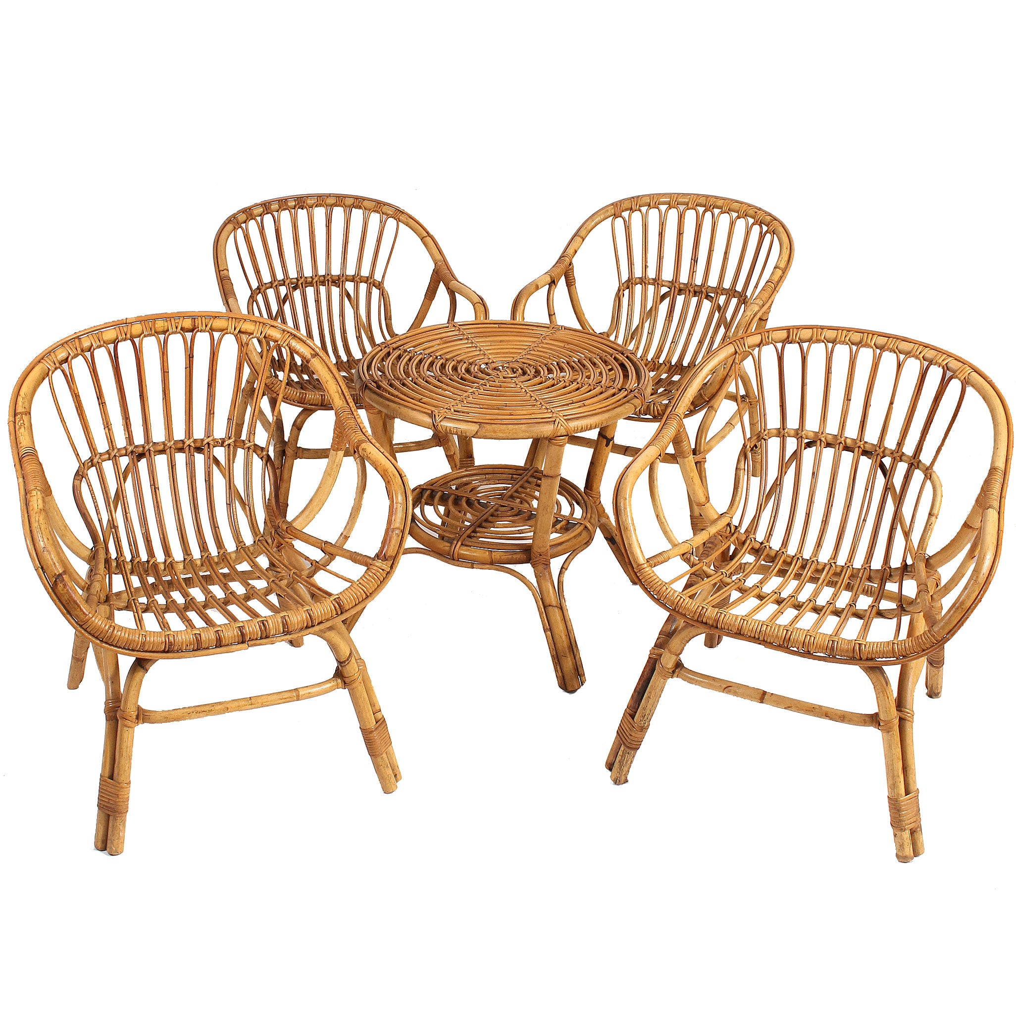 Vintage Italian Rattan Lounge Chairs And Table Set   Fatto A Mano Antiques