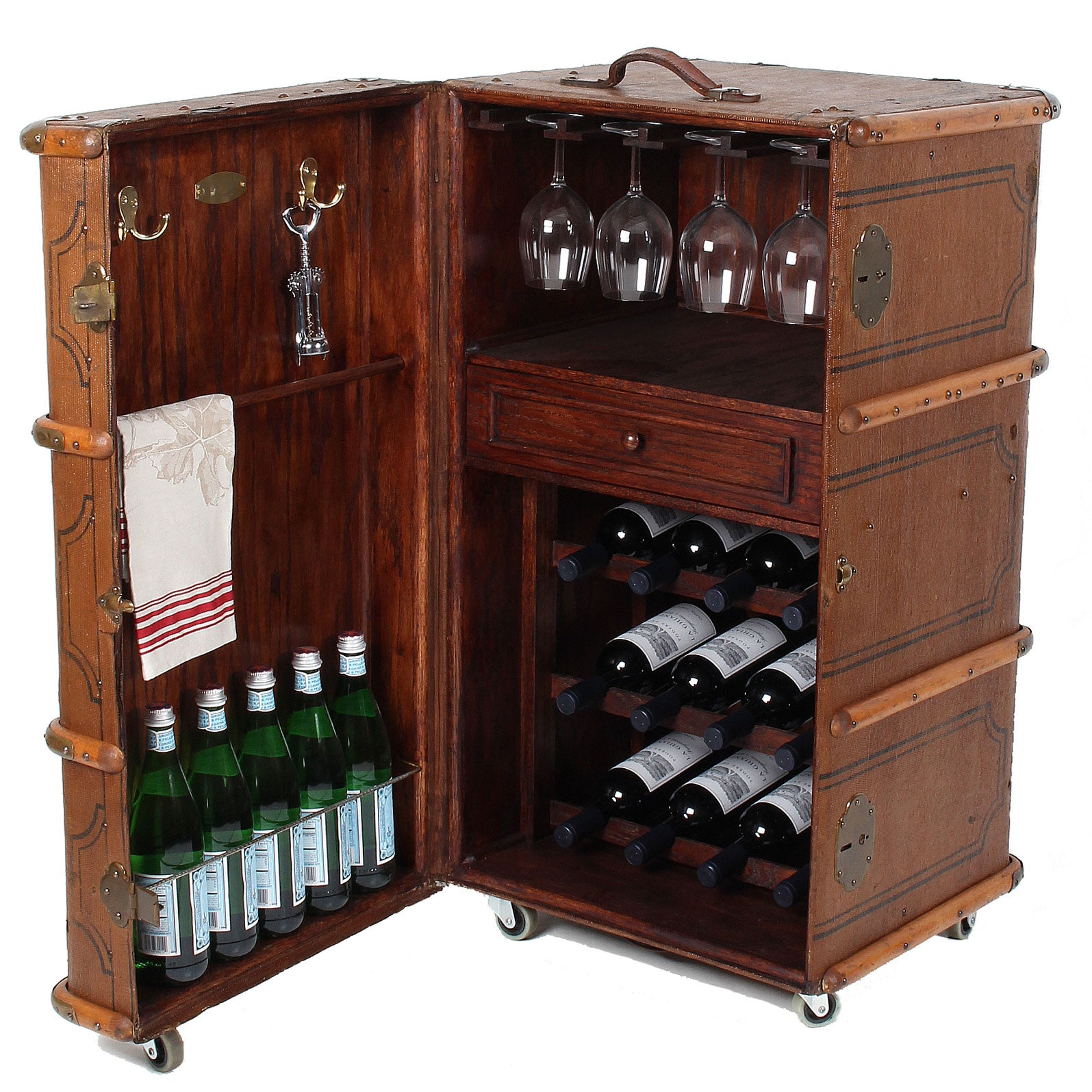 Vintage Steamer Trunk Wine Bar Cabinet Fatto A Mano Antiques
