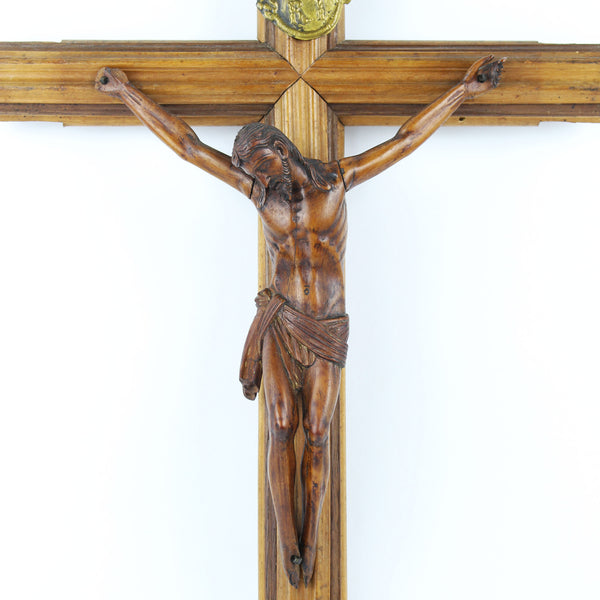 Antique Italian Carved Boxwood Wall Crucifix Fatto A