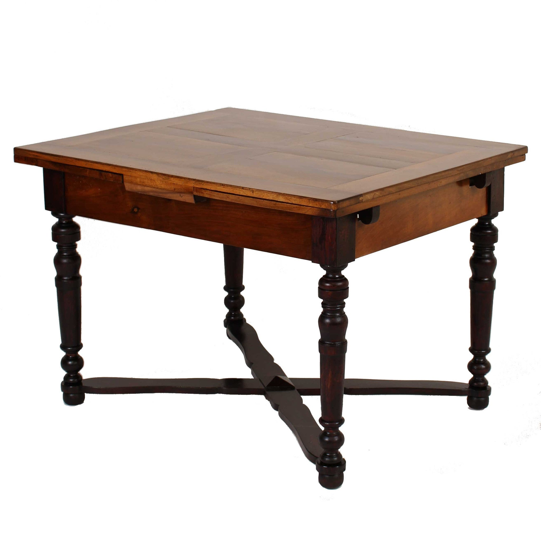antique walnut draw leaf farmhouse table fatto a mano antiques