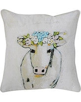 Square Cotton Pillow with Cow
