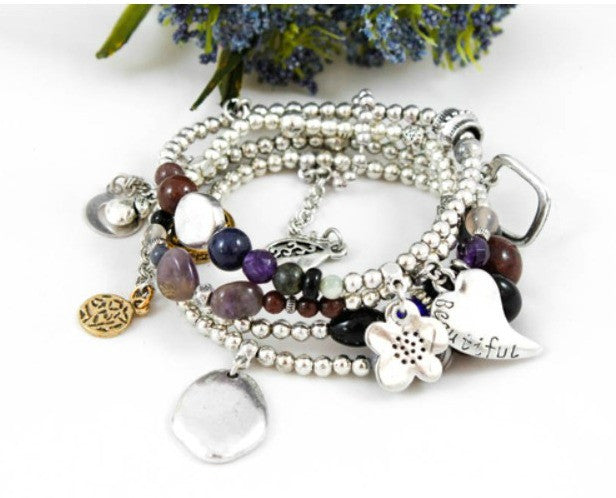 Sliver Plated Nugget, Charm and Bead Cluster Bracelet by LIZOU