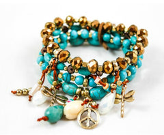 Cluster Bracelet with Turquoise, Charms and Gold Nuggets by LIZOU