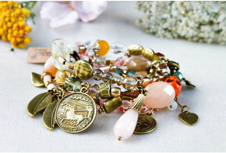 Bead and Charm Cluster Bracelet by LIZOU
