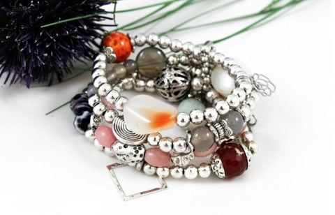 Silver Nugget and Bead Cluster Bracelet by LIZOU