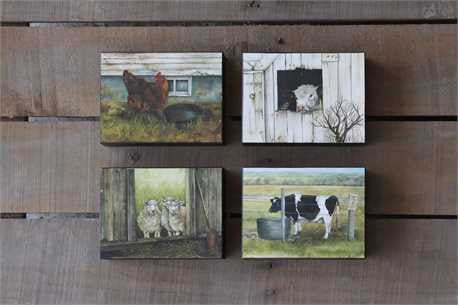 Block Wall Hangings with Barn Animal Images, 4 Styles