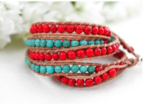 Wrap Bracelet with Turquoise and Leather by LIZOU