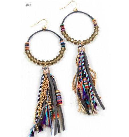 Bead and Leather Tassel Hoop Drop Earrings by LIZOU