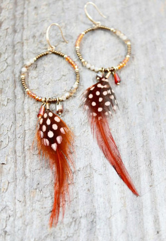 Feather Wire Drop Earrings with Beads by LIZOU