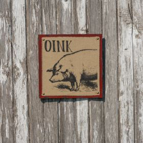 "Red ""Oink"" Burlap Picture"