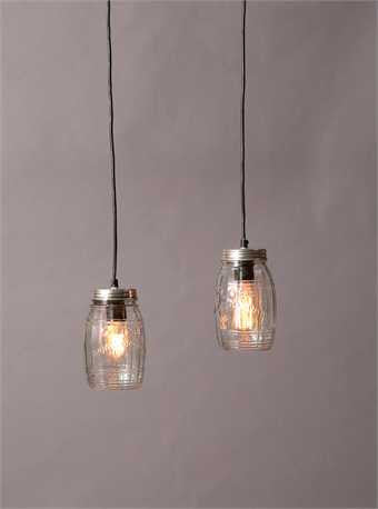 Embossed Glass Jar Pendant Lamp