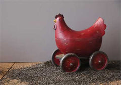 Resin Hen Shaped Box w/ Wheels , Distressed Red Finish