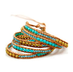 Turquoise, Bead and Sparkle Gem Leather Wrap Bracelet by LIZOU