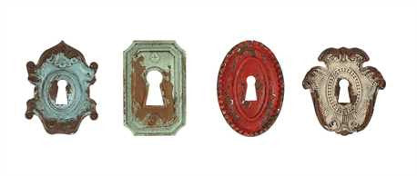 Painted Pewter Key Hole Knob, 4 Styles