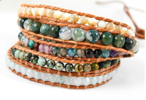 Mother of Pearl, Agate and Leather Wrap Bracelet by LIZOU