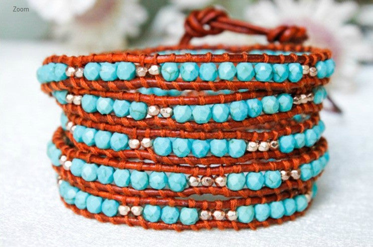 Turquoise, Gold and Silver Nugget Leather Wrap Bracelet by LIZOU