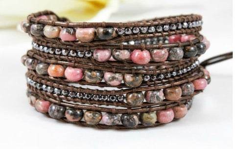 Rhodonite, Gun Metal Nugget and Leather Wrap Bracelet by LIZOU