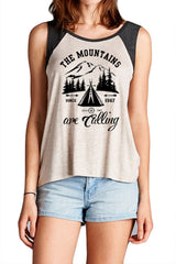 The Mountains Are Calling Printed Tank Top