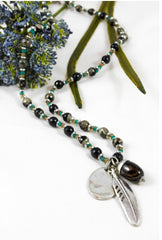 Silver Feather and Bead Necklace by LIZOU