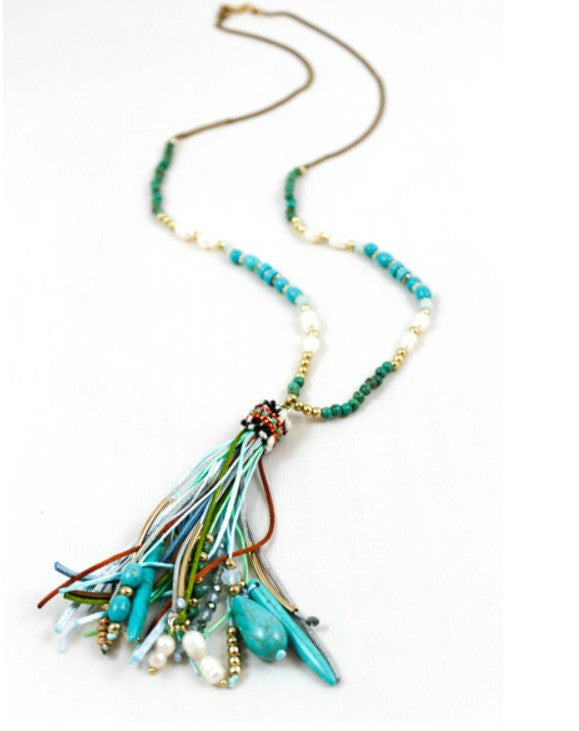 Turquoise, Bead and Leather Tassel Necklace by LIZOU