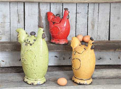 Decorative Stoneware Rooster Jars, Set of 3