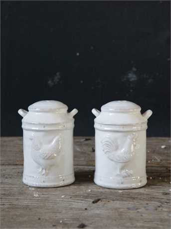 Ceramic Salt & Pepper Shakers with Embossed Chickens, Set of 2