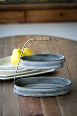Petite Oval Serving Tier with Wood Handle