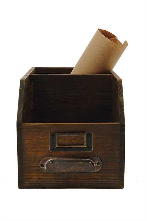 Wood 2 Section Bin