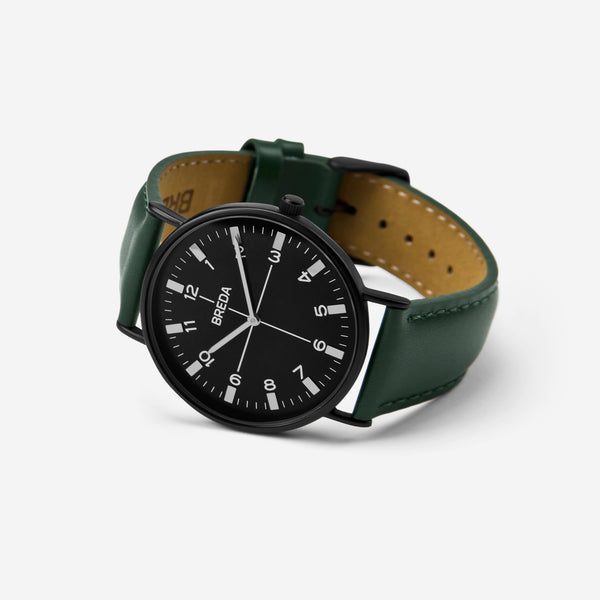 BREDA-Belmont-1646j-Black-Green-Watch-Angle