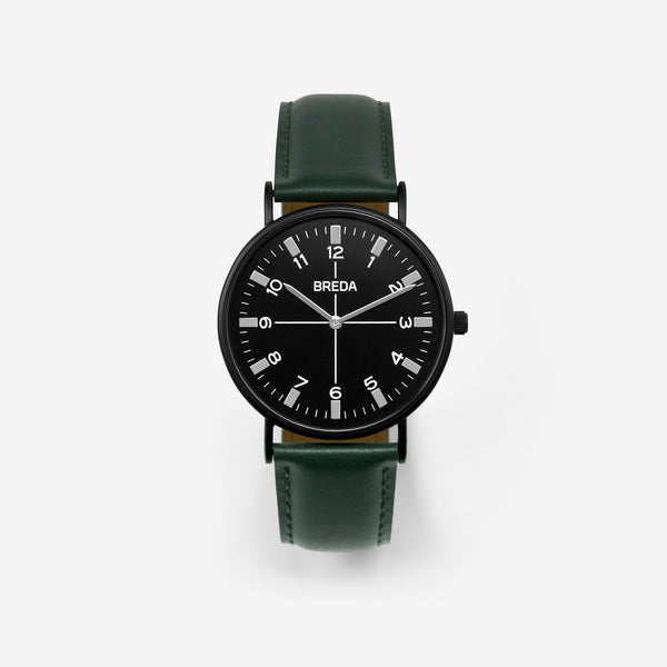 BREDA-Belmont-1646j-Black-Green-Watch-Front
