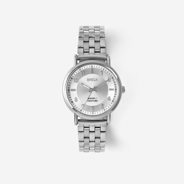 BREDA-Good-Posture-Theophilus-Martins-Blossom-5017a-Silver-Watch-Front