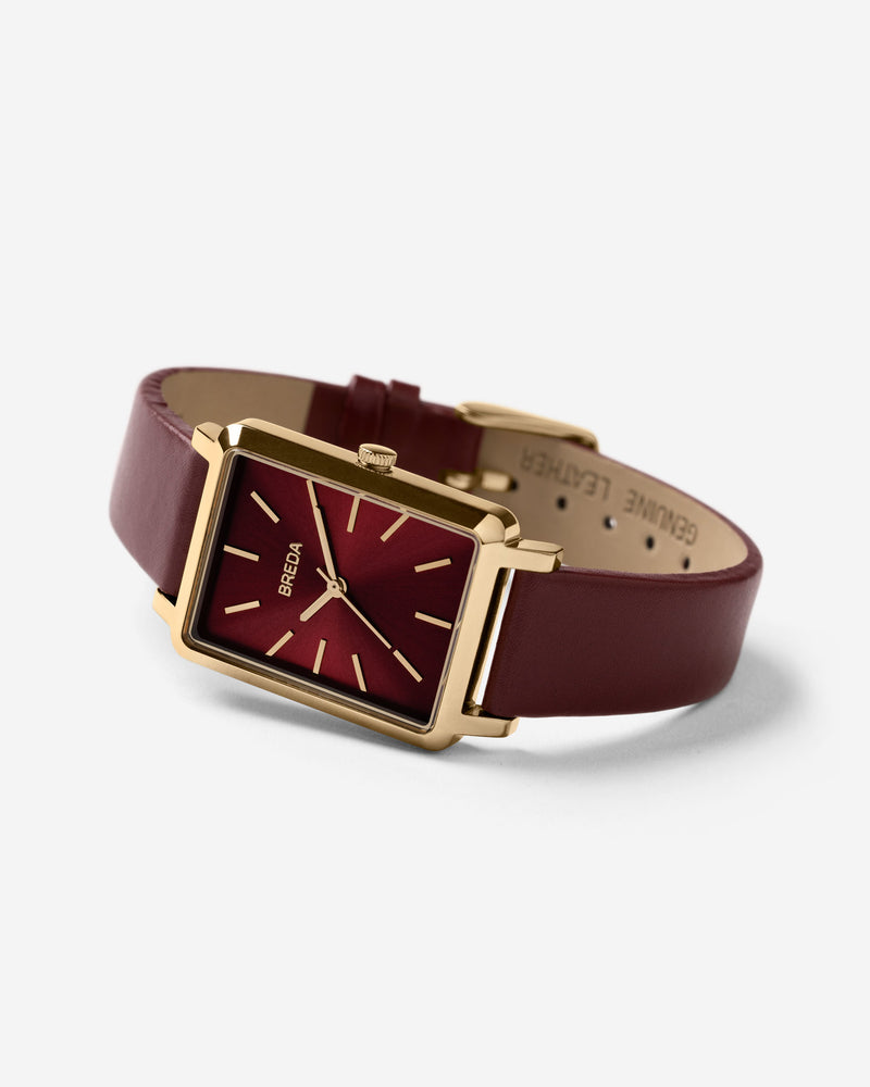 breda-baer-1729a-gold-maroon-leather-watch-angle