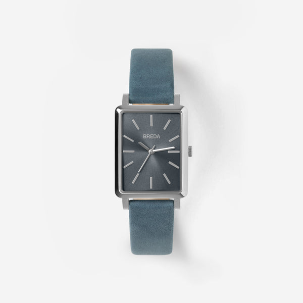 breda-baer-1729o-silver-blue-leather-watch-front