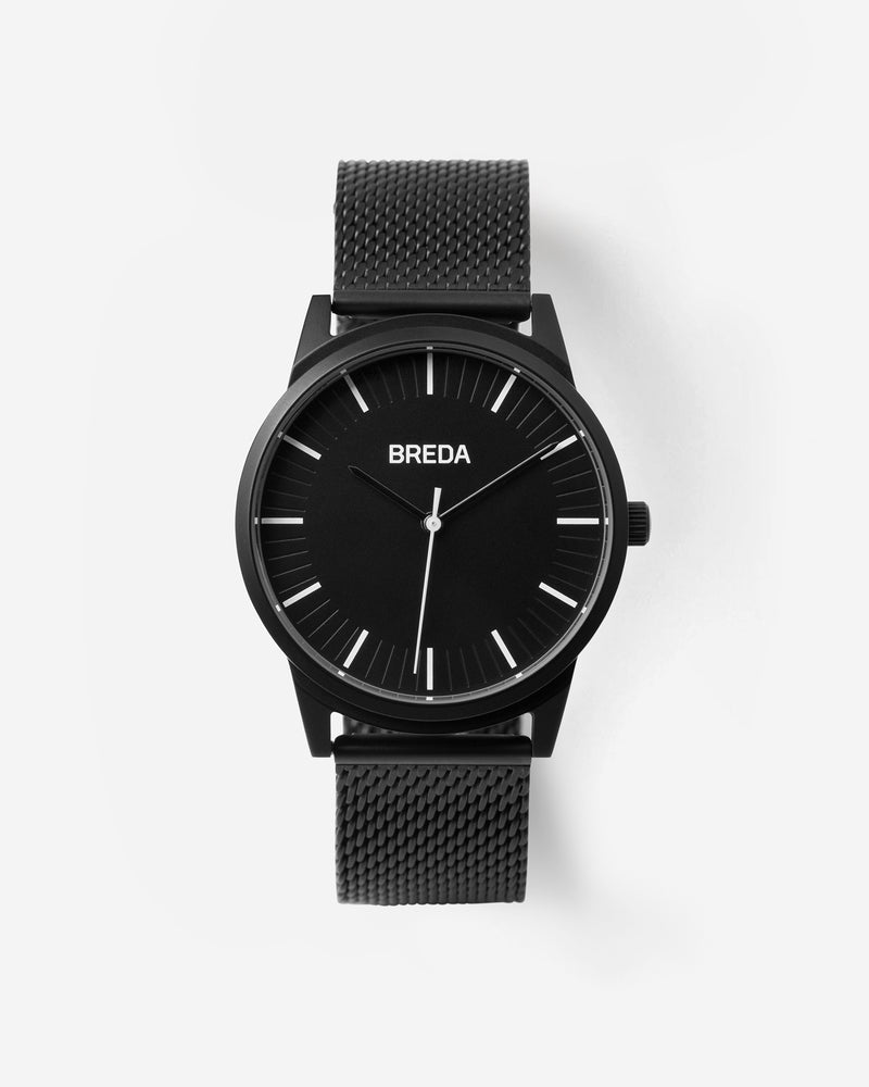breda-bresson-5020h-black-mesh-watch-front