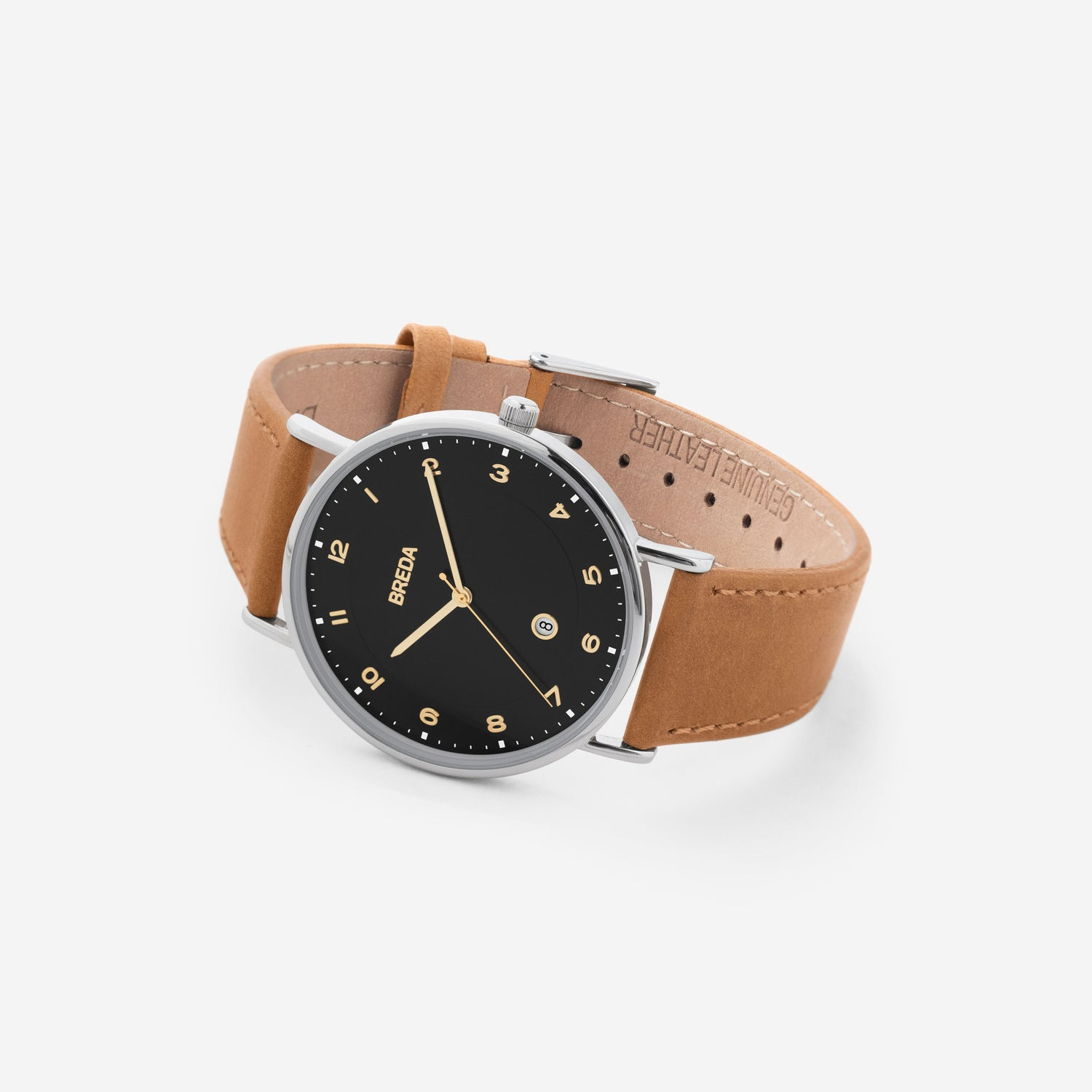 breda-pei-1739b-silver-brown-leather-watch-angle