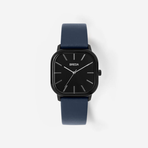 breda-visser-1728d-black-navy-leather-watch-front