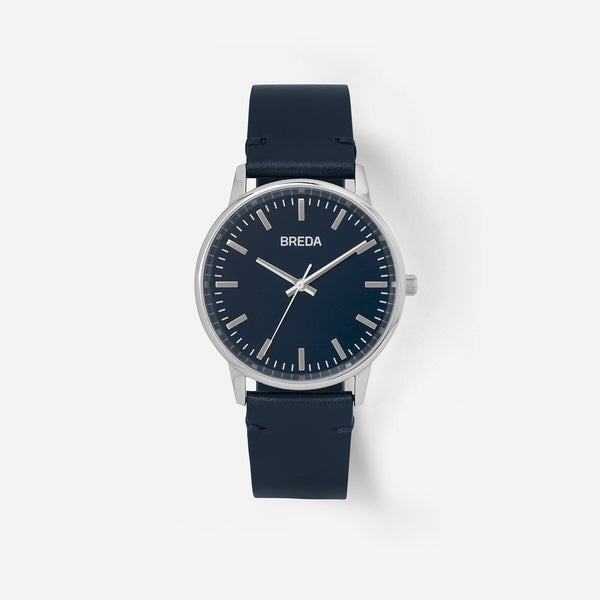 breda-zapf-1697m-silver-navy-leather-watch-front