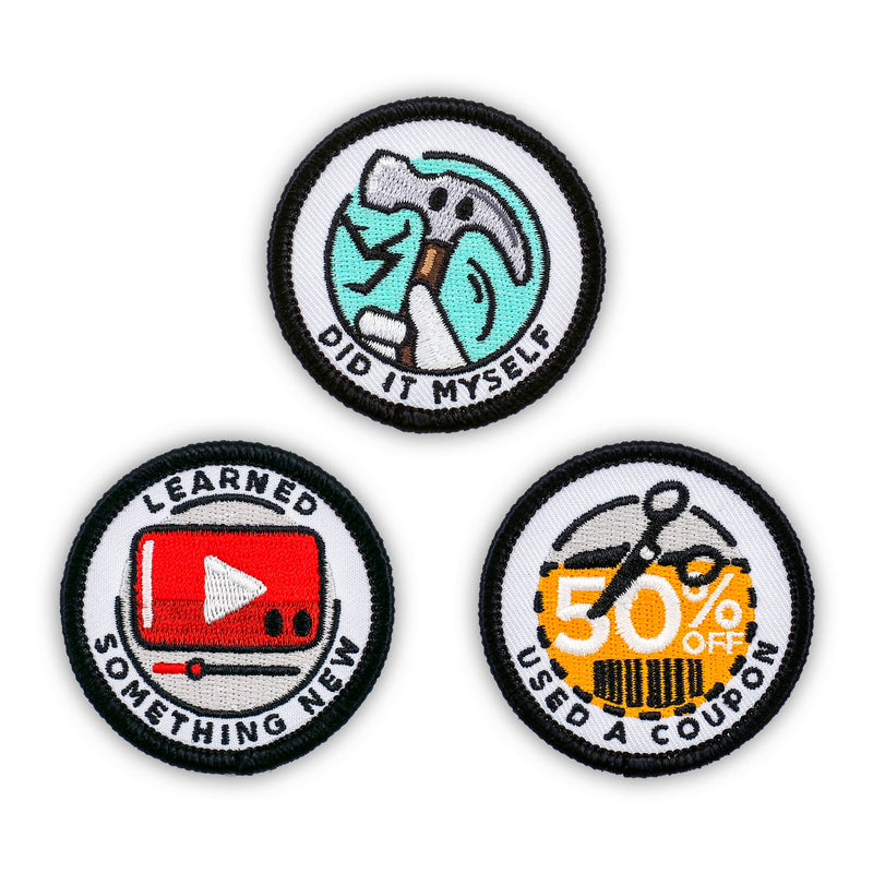Adulting Merit Badge Embroidered Iron-On Patches (Achievements - Set 2)