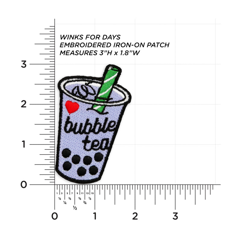 Taro Bubble Tea Embroidered Iron-On Patch