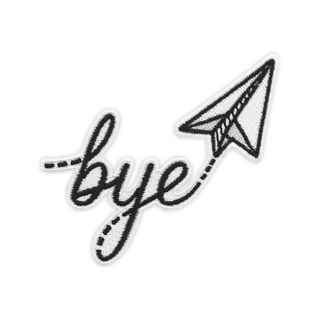 Bye Paper Airplane Embroidered Iron-On Patch