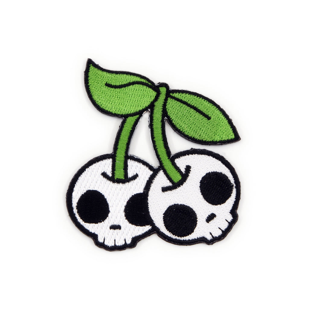 Cherry Skulls Embroidered Iron-On Patch