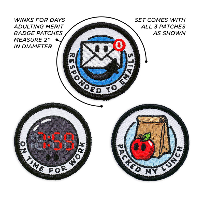 Adulting Merit Badge Embroidered Iron-On Patches (Corporate - Set 1)