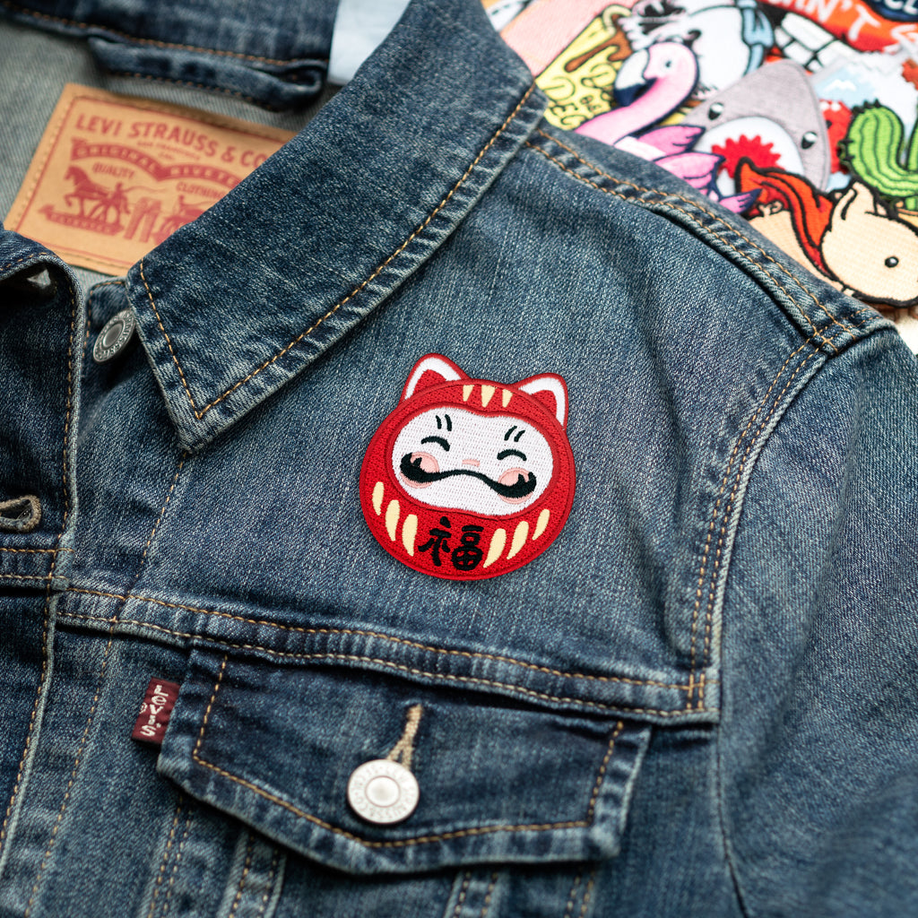 Darumeow Lucky Daruma Cat Iron-on Patch