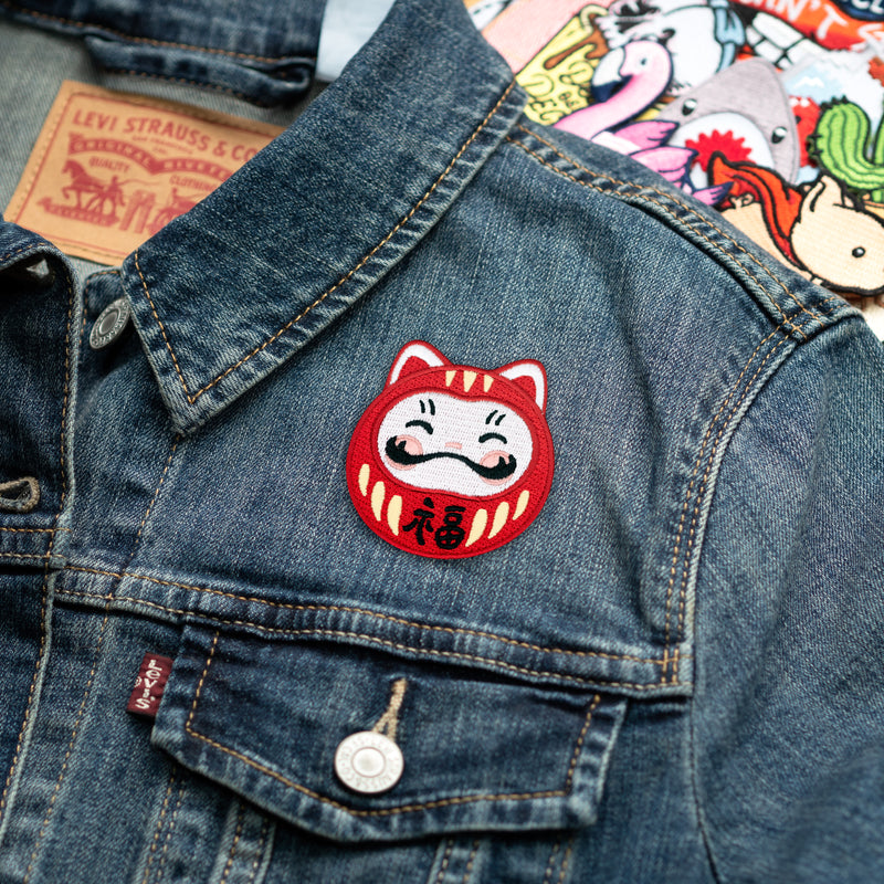 Darumeow Lucky Daruma Cat Embroidered Iron-on Patch