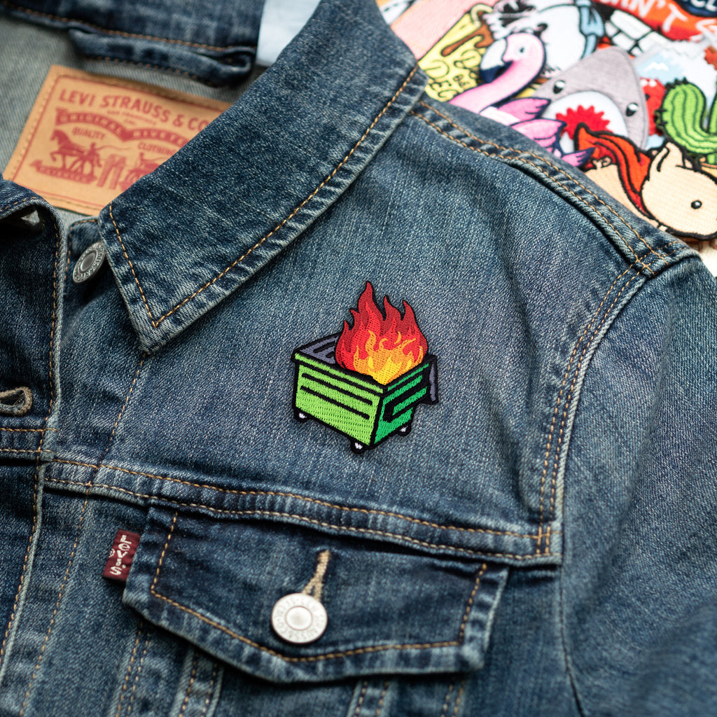 Dumpster Fire Green Dumpster Iron-On Patch