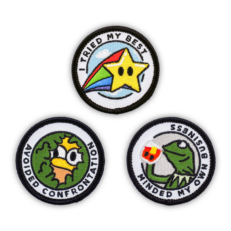 Adulting Merit Badge Embroidered Iron-On Patches (Funny - Set 1)